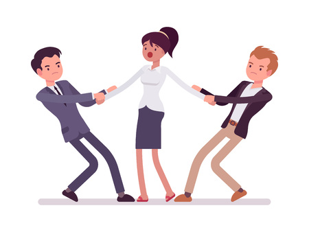 Men struggling for a woman testing strength, tugging her, pulling on opposite ends of her hands. Cartoon vector flat-style concept illustration Illustration