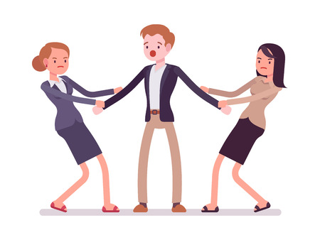 Women struggling for a man testing strength, tugging him, pulling on opposite ends of his hands. Cartoon vector flat-style concept illustration Illustration