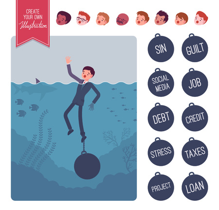 drowning: Businessman drowning with a weight creation set. Build your own illustration. Cartoon vector flat-style infographic illustration