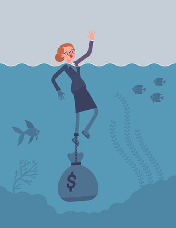 Businesswoman drowning chained with a dollar sack. Cartoon vector flat-style concept illustration Illustration