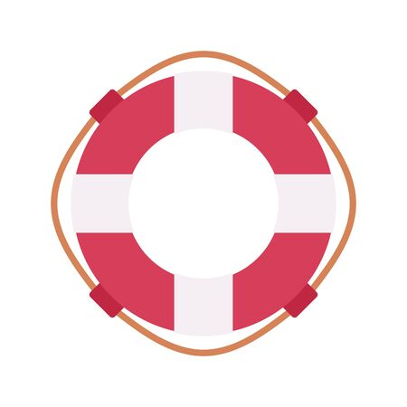 Lifebuoy ring to be thrown to a person in the water, in red and white color. Cartoon vector flat-style illustration Illustration