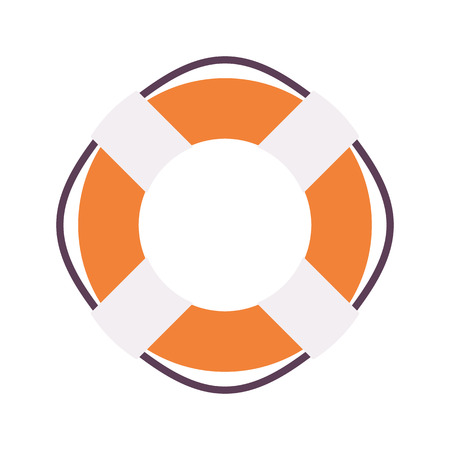 drowning: Lifebuoy ring to provide buoyancy and prevent drowning, in orange and white color. Cartoon vector flat-style illustration