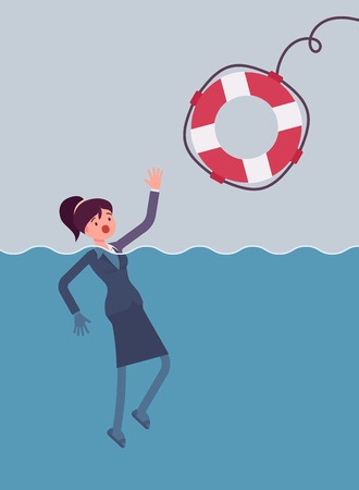 Giving a lifebuoy for drowning businesswoman. Cartoon vector flat-style concept illustration Illustration