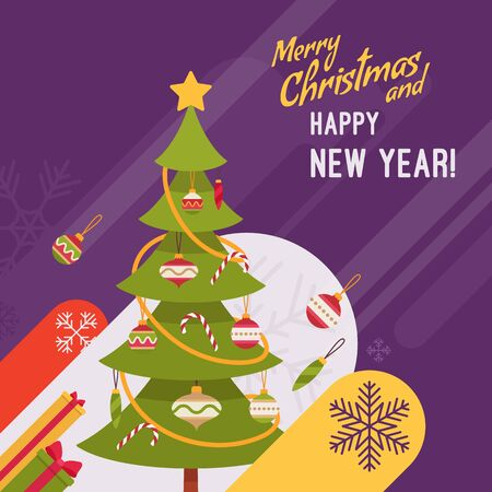 fur tree: New Year and Christmas card with copyspace for texting. Purple background, green fur tree decorated with glass baubles and candy canes. Cartoon vector flat-style graphic template