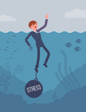 Businessman drowning chained with a weight Stress, suffering with alert and endless headaches, poor family relationships, unable to cope with the pressures. Cartoon flat-style concept illustration