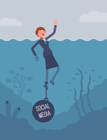 unable: Businesswoman drowning chained with a weight Social Media, lost in social networks, addicted, unable to stop using, social bullying, being offended. Cartoon flat-style concept illustration