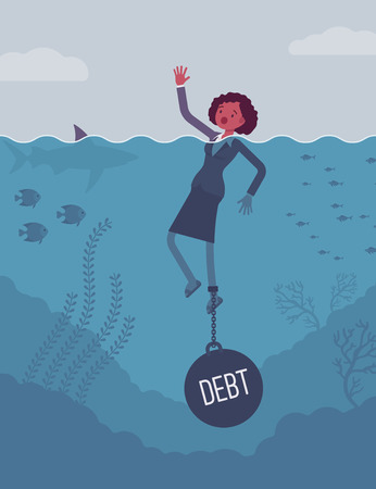 drown: Businesswoman drowning chained with a weight Debt, business owner having money problems, poor family debt management plan, increased monthly payments. Cartoon flat-style concept illustration