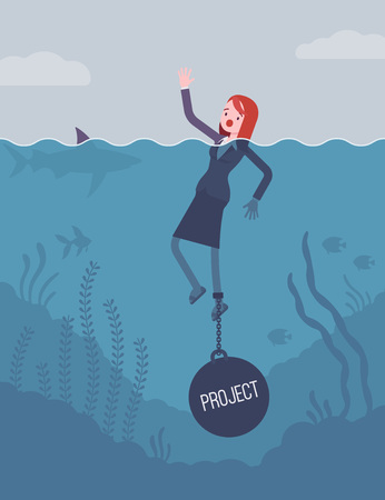 Businesswoman drowning chained with a weight Project, facing problems with project, loosing profitable customers, unhappy and unproductive startup. Cartoon flat-style concept illustration Illustration