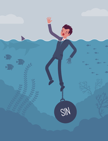 confess: Businessman drowning chained with a weight Sin, being weak, unable to verbalize the truth and confess, having no willpower, feeling guilty. Cartoon flat-style concept illustration