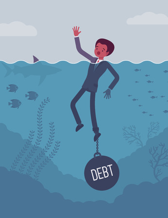 debt management: Businessman drowning chained with a weight Debt, having money problems, unable to pay bills, poor family debt management plan, increased monthly payments. Cartoon flat-style concept illustration