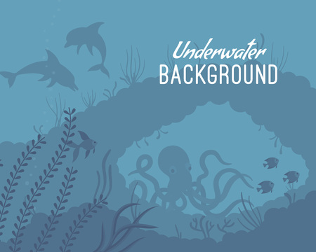 Underwater  shallow, clear and agitated water, exploring the world oceans, help protect. Cartoon flat-style graphic template with copyspace