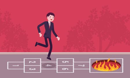 carefree: Young carefree businessman playing hopscotch, fire in front
