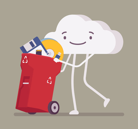 Cloud pushing trash bin with old memory storages