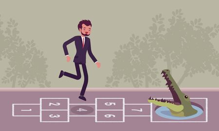 carefree: Young carefree businessman playing hopscotch, crocodile in front