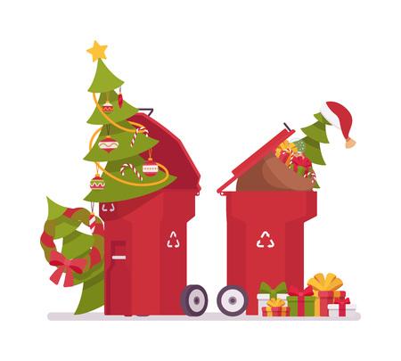 Vuilnisbakken met kerstbomen, nutteloos na vakantie