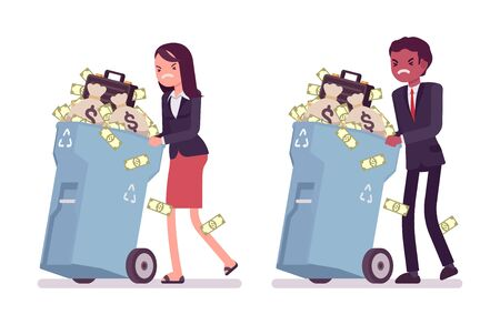 wealthy lifestyle: Young businessman and businesswoman pushing wheeled trash bins with money