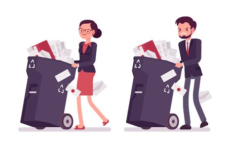 wheeled: Businessman and businesswoman pushing wheeled trash bins with documents