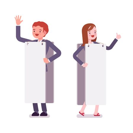 sandwich board: Male and female human billboard, copy space Stock Photo