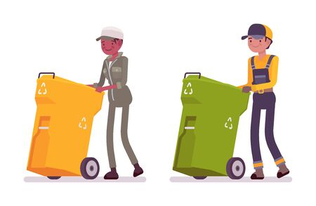 collectors: Male and female waste collectors in uniform pushing trash bins
