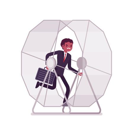 Geschäftsmann in einem Laufrad