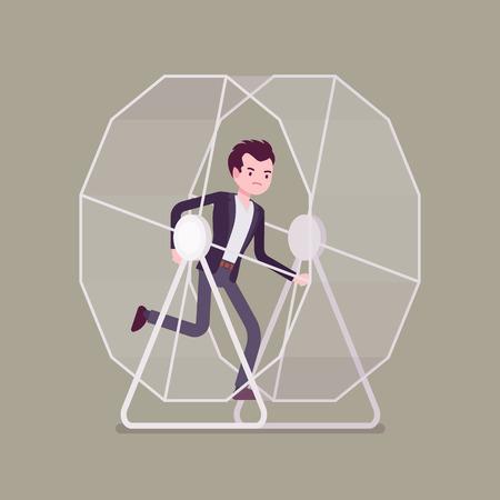 Businessman in a running wheel