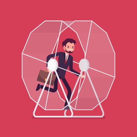 improving: Businessman in a running wheel