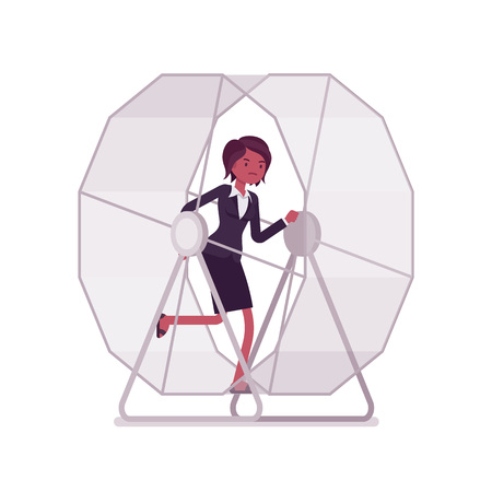 downshift: Businesswoman in a running wheel