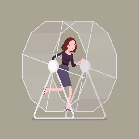monotony: Businesswoman in a wheel