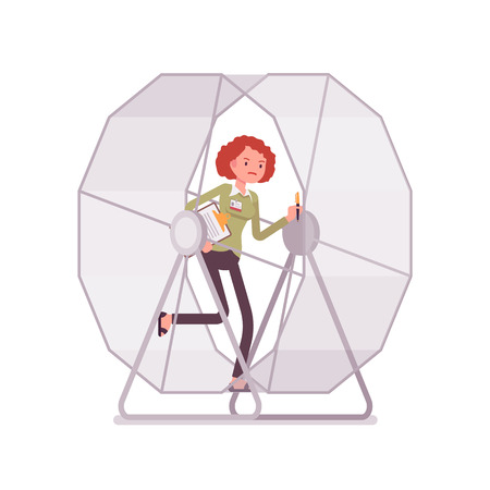 Businesswoman in a mouse wheel