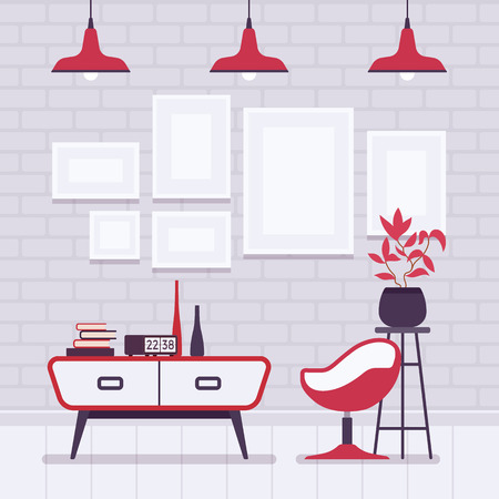 Retro interior with red lamps, frames for copyspace and mockup
