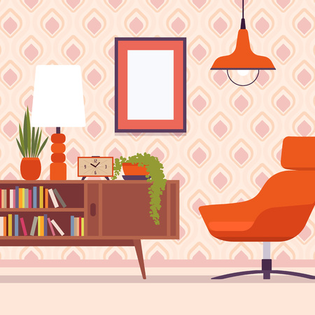 Retro interior with chair, frames for copyspace and mockup Vectores