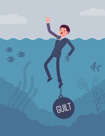 guilt: Businessman drowning chained with a weight Guilt