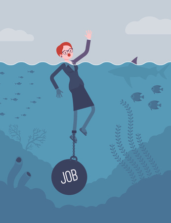 Businesswoman drowning chained with a weight Job