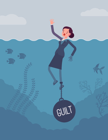 guilt: Businesswoman drowning chained with a weight Guilt, experiencing shame, done something wrong, caused someone harm. Cartoon flat-style concept illustration