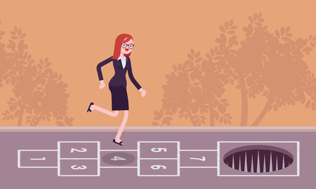 carefree: Young carefree businesswoman playing hopscotch, pale in front Illustration