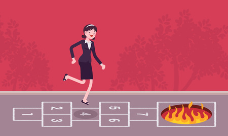 unsuspecting: Young carefree businesswoman playing hopscotch, fire in front