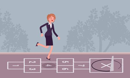 Young carefree businesswoman playing hopscotch, sawing in front Illustration