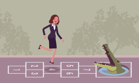 carefree: Young carefree businesswoman playing hopscotch, crocodile in front