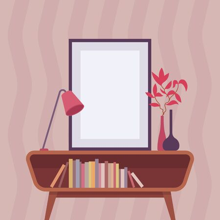 Retro interior with frame for copyspace Illustration