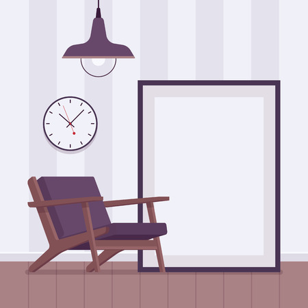 pendant lamp: Retro interior with big floor frame for copyspace