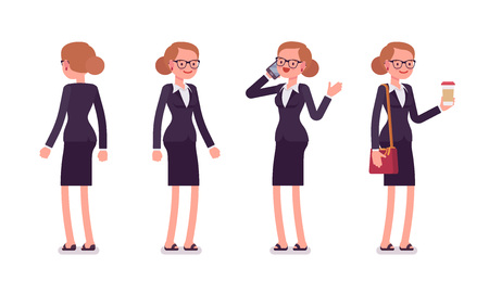 rear view: Set of businesswoman in standing poses, rear and front view