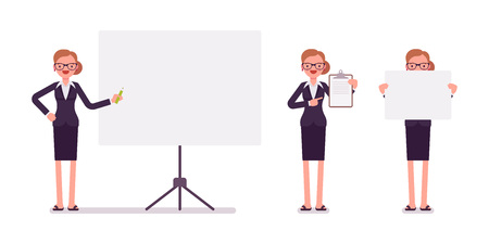Set of businesswoman in formal wear with frames for copyspace Illustration