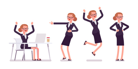 Young happy businesswoman sitting at the desk with computer, raised hands, standing in akimbo pose, jumping with joy, pointing with finger and laughing, full length, front and rear view, isolated