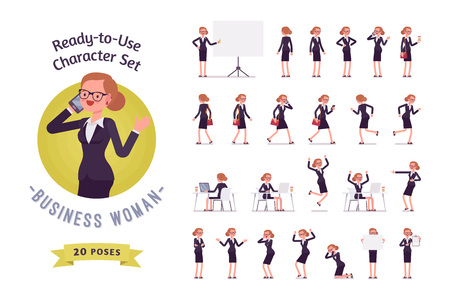 Ready-to-use business woman character set, different poses and emotions