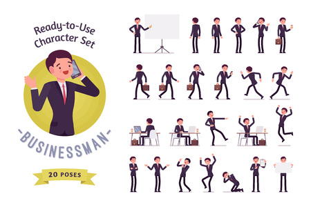 Ready-to-use Geschäftsmann Charakter gesetzt, verschiedene Posen und Emotionen