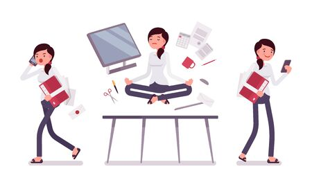office scene: Office scene with busy and relaxed in yoga female clerk