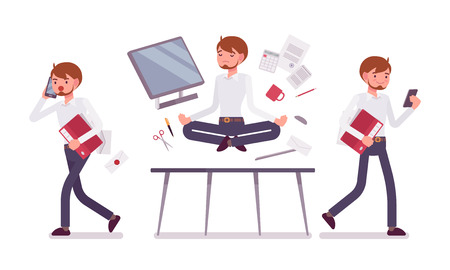 office scene: Office scene with busy and relaxed in yoga male clerk