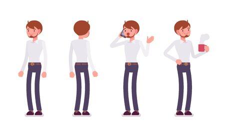 oficinista: Conjunto de recepcionista masculino en las posturas de pie,, vista frontal trasera Vectores