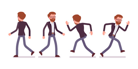 Set of male manager in walking, running poses, rear, front view Vectores