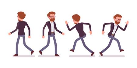 Set van mannelijke manager in wandelen, hardlopen poses, achterzijde, vooraanzicht
